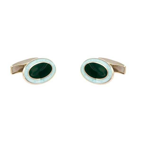 gemelos esmalte ovalados interior verde joyas novio tarin joyeros online