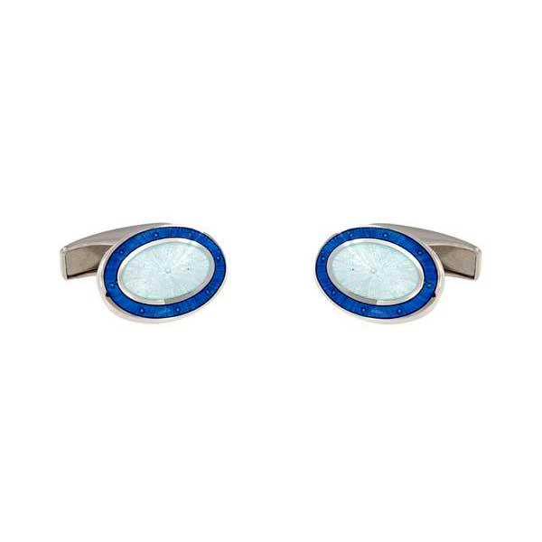 gemelos esmalte azulón interior blanco. joyas novio tarin joyeros online