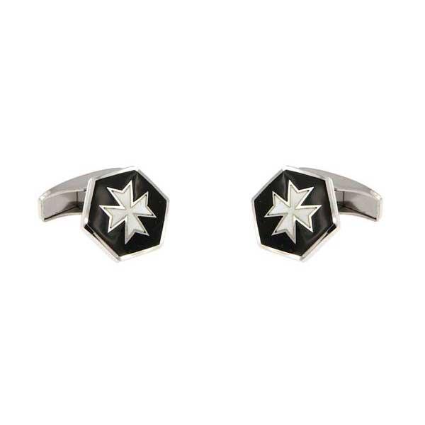 gemelos esmalte negro hexagonales cruz malta joyas novio tarin joyeros online