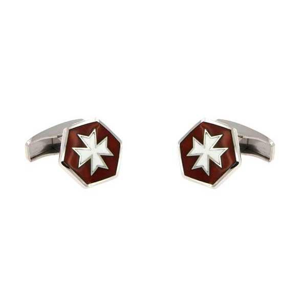 gemelos esmalte granate hexagonales cruz malta joyas novio tarin joyeros online