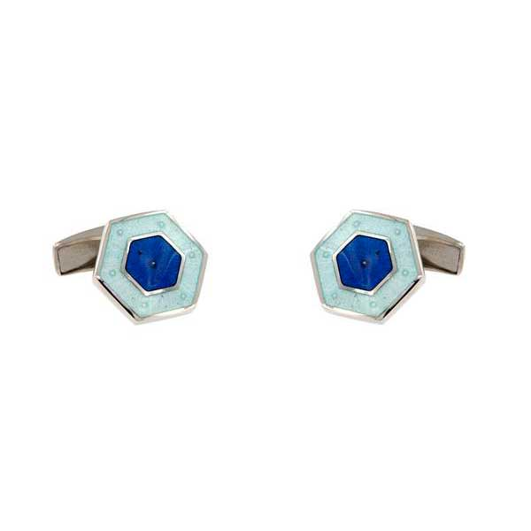 gemelos esmalte hexagonales interior azulón joyas novio tarin joyeros online