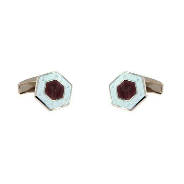 gemelos esmalte hexagonales interior lila joyas novio tarin joyeros online