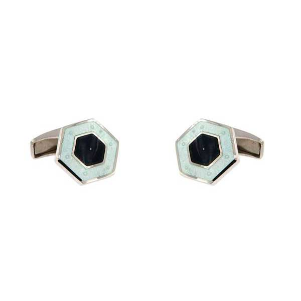 gemelos esmalte hexagonales interior negro joyas novio tarin joyeros online