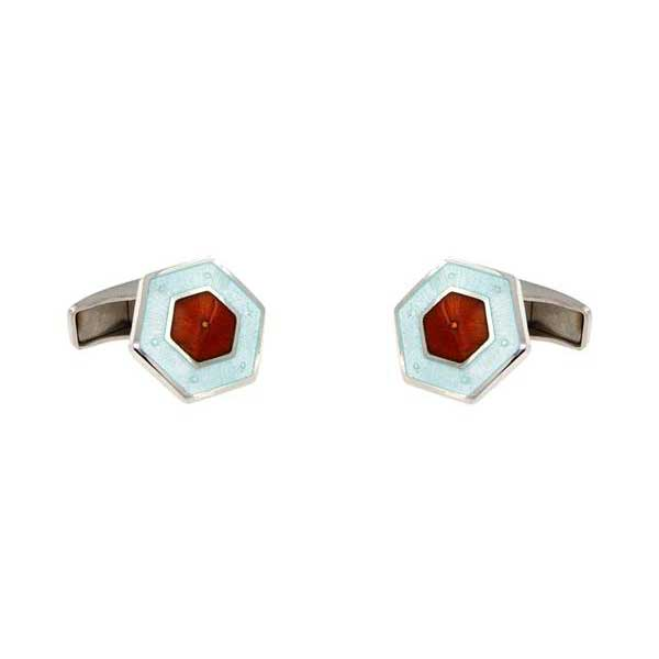gemelos esmalte hexagonales interior granate joyas novio tarin joyeros online