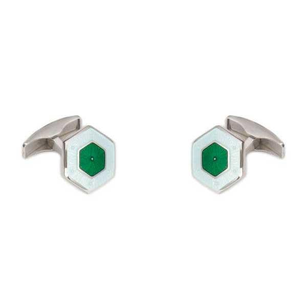 gemelos esmalte hexagonales interior verde joyas novio tarin joyeros online