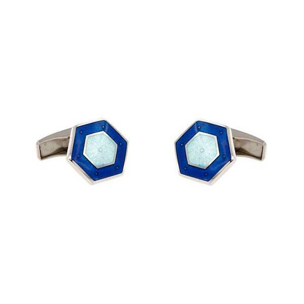 gemelos esmalte azulón hexagonales interior blanco joyas novio tarin joyeros online