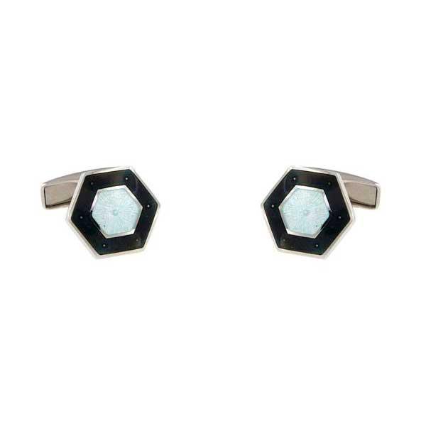 gemelos esmalte negro hexagonales interior blanco joyas novio tarin joyeros online