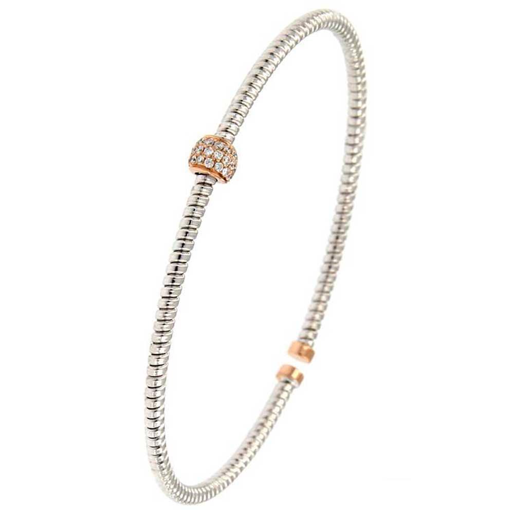 pulsera hilo entorchado oro blanco esfera rosa blanco tarin joyeros online