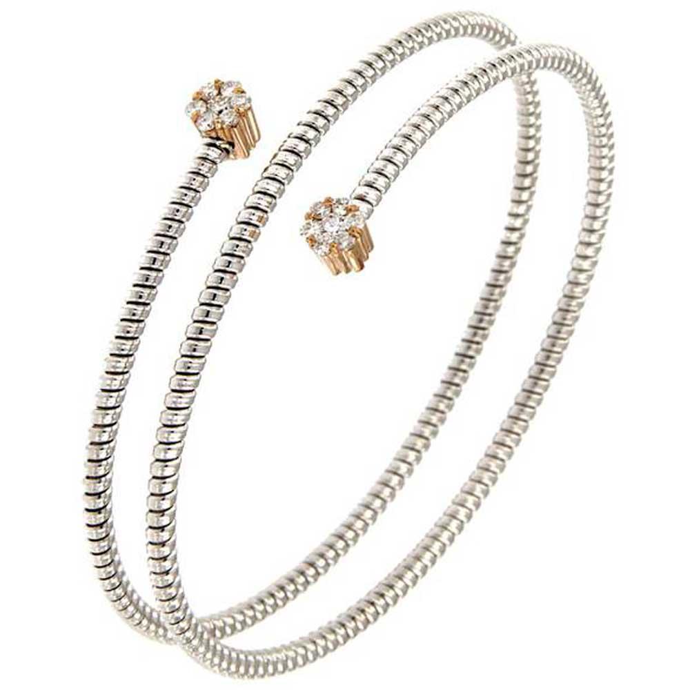pulsera hilo entorchado espiral oro blanco doble roseta oro rosa tarin joyeros online
