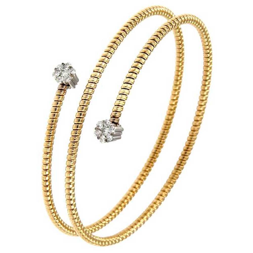pulsera doble espiral hilo entorchado oro amarillo doble roseta oro blancotarin joyeros online